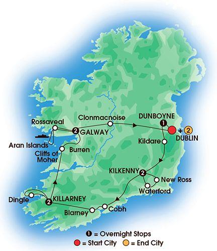 Itinerary map of 10 Day Irish Legends
