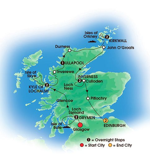 Itinerary map of 12 Day Scottish Isles & Glens