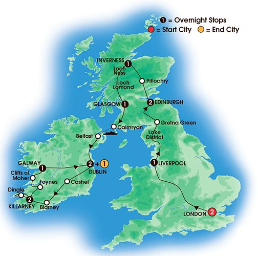 Itinerary map of 14 Day Rockin