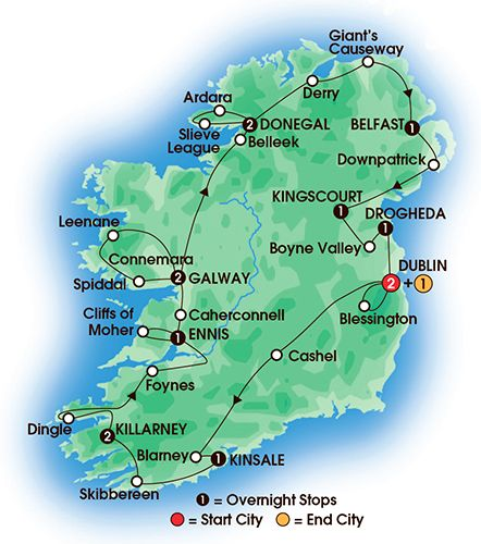 Itinerary map of 15 Day Jewels Of Ireland