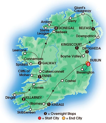 Itinerary map of 14 Day Jewels Of Ireland