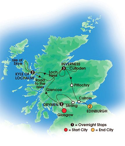 Itinerary map of 10 Day Scottish Clans & Castles