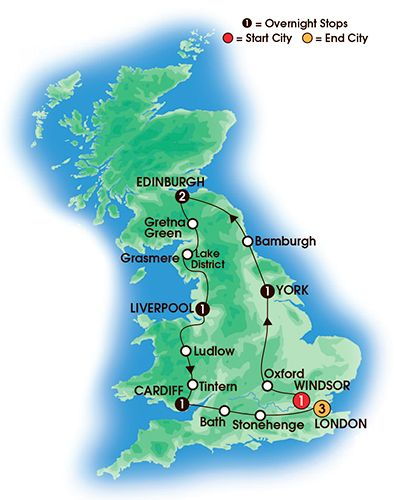 Itinerary map of 10 Day Best Of Britain
