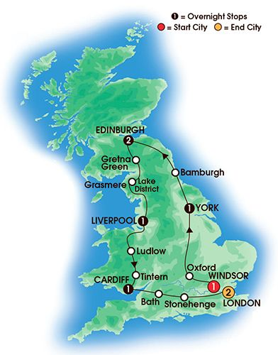 Itinerary map of 9 Day Best Of Britain