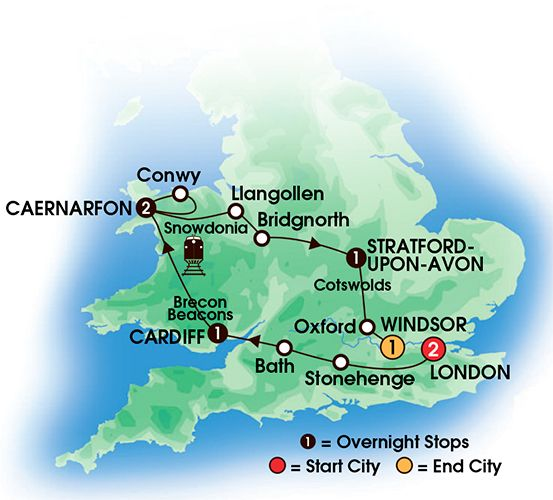 Itinerary map of 8 Day Heart Of Wales & England