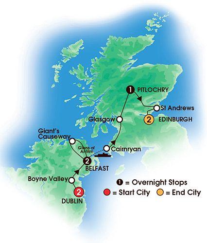 Itinerary map of 8 Day Irish & Scottish Sampler