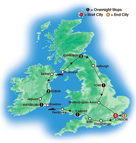 Itinerary map of 10 Day Essence Of Britain & Ireland