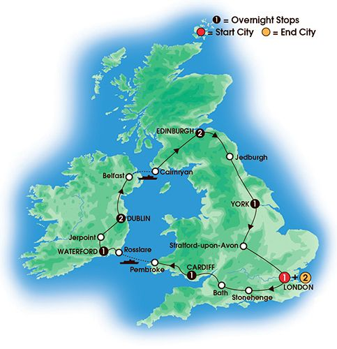 Itinerary map of 11 Day Essence Of Britain & Ireland