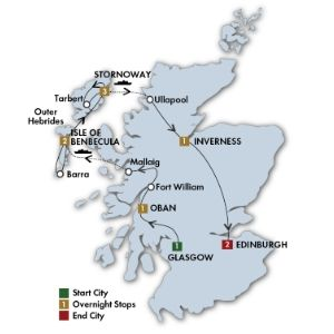 Itinerary map of 11 Day The Outer Hebrides: Scotland