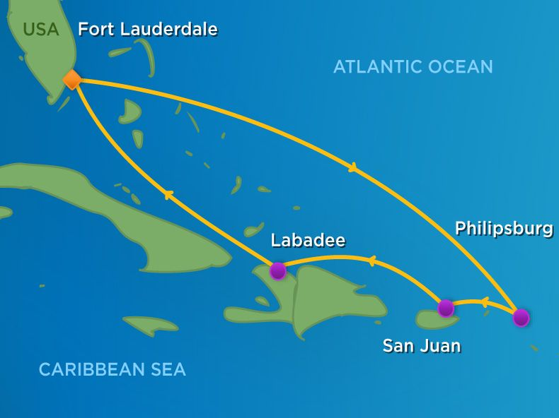 7 Night  Eastern Caribbean Cruise Itinerary Map