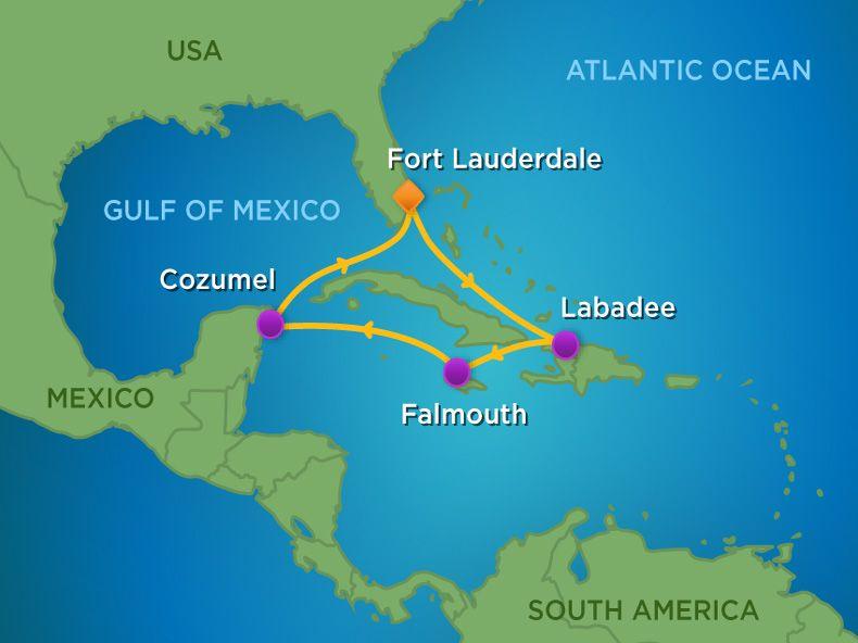 7 Night  Western Caribbean Cruise Itinerary Map