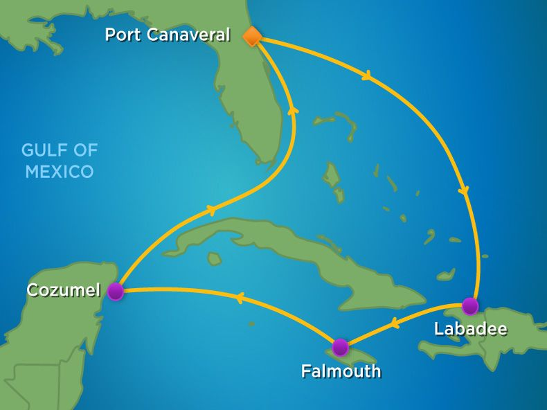 7 Night  Western Caribbean Cruise Itinerary Map