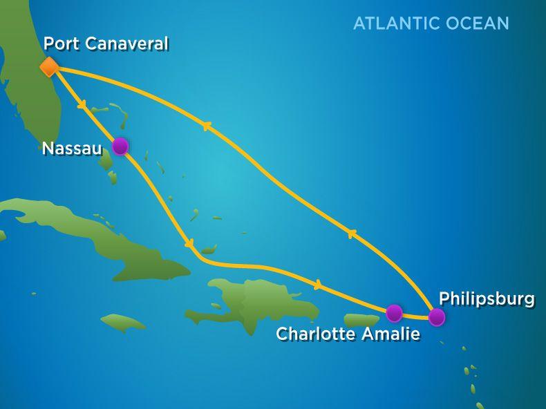 7 Night  Eastern Caribbean Cruise Itinerary Map