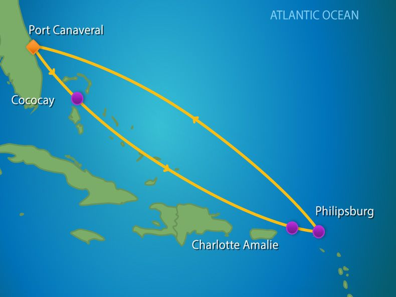 7 Night Eastern Caribbean & Perfect Day Itinerary Map